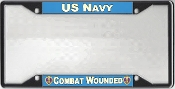 US Navy Combat Wounded License Plate Frame