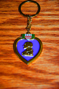 Solid Brass 3D Purple Heart Key Ring