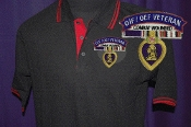 Purple Heart Black & Red Cotton Polo-MOPH