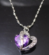 Purple Heart Offset Necklace