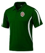 Green & White Polyester Polo Shirt
