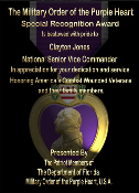 Lens color Purple Heart Award Plaques