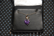 Purple Heart Diamond Bar Necklace