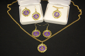 Purple Heart Family Necklace/Earrings