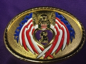 Purple Heart Golden Eagle Belt Buckle